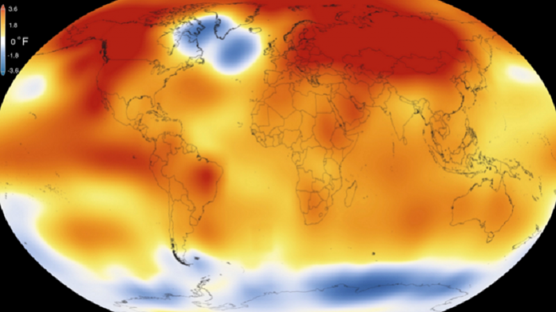 Mapamundi que muestra la temperatura media global en 2015
